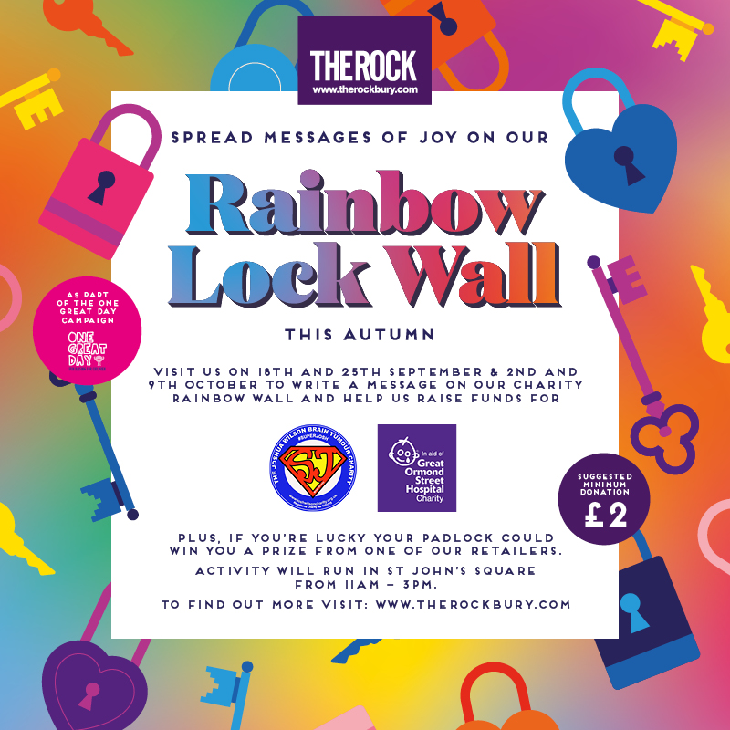 Visit our charity rainbow lock wall